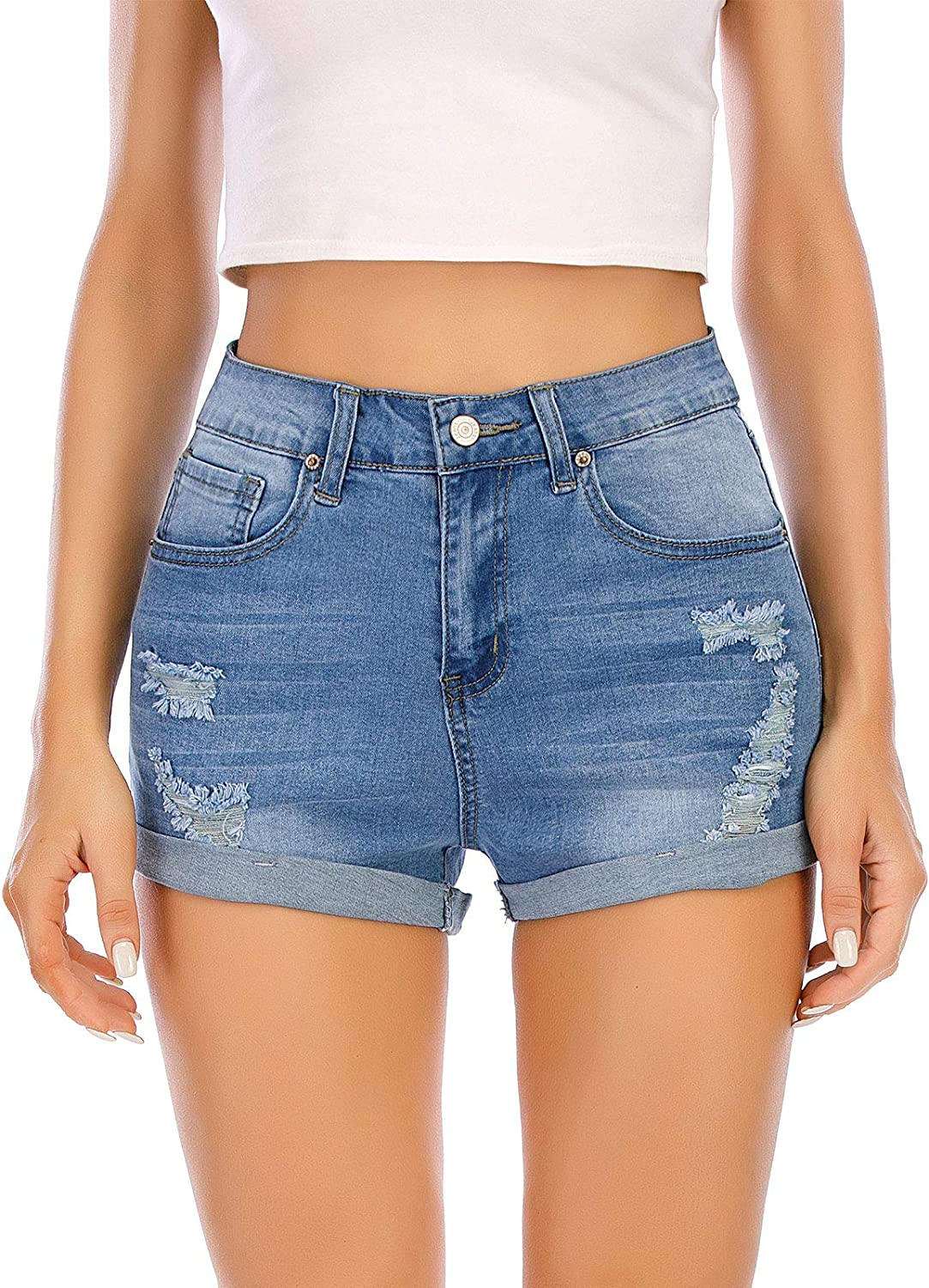 AMCLOS Womens Casual Denim Shorts High Waist High Stretchy Skinny Ripped Hole Distressed Jean with Pockets