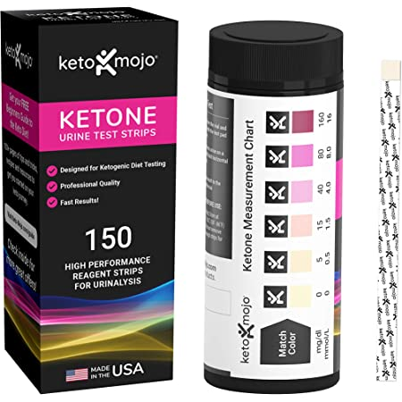 150 Ketone Test Strips with Free Keto Guide eBook & Free APP. Urine Test for Ketosis on Ketogenic & Low-Carb Diets. (Extra-Long Strips, Made in USA)