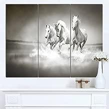Designart PT13126-3P Horses Running Through Water Oversized Animal Wall Art,36x28