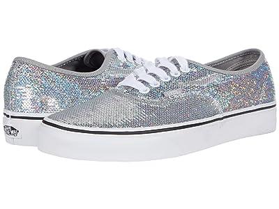 Vans Authentic ((Micro Sequins) Silver/True White) Skate Shoes