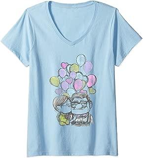 Womens Disney Pixar Up Carl And Ellie Love V-Neck T-Shirt
