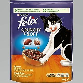 FELIX Crunchy & Soft Katzenfutter trocken, Sorten-Mix, 4er Pack (4 x 950g)