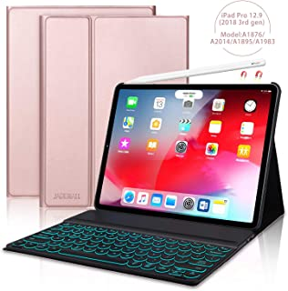 JADEMALL iPad Pro 12.9 Case with Keyboard for Pro 12.9 Inch 2018(3rd Gen),[Support Pencil Charging] Detachable 7 Color Backlit Buleetooth Wireless Keyboard Cover, Magnetic Stand Folio Case, Rose