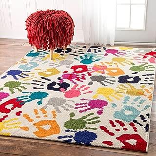nuLOOM Pinkie Handprint Nursery Kids Rug, 5' x 8', Multi