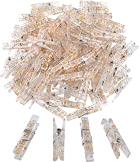 100 Pieces Clear Plastic Gold Glittered Utility Paper Clip, Photo Paper Peg Pin, Clothes Line Clips, Craft Clips, 3.5 x 0.5cm x 0.7cm