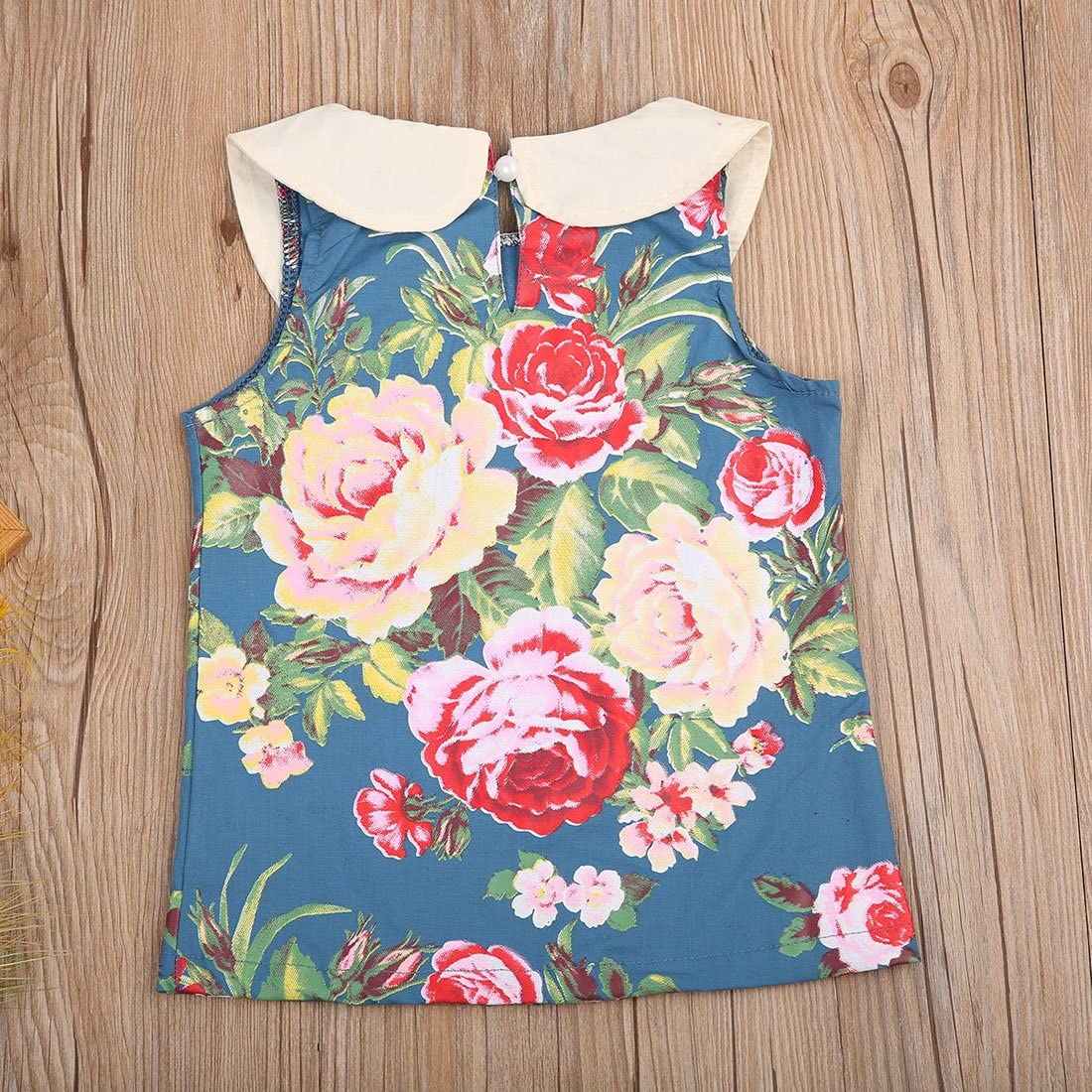 Baby Girls Outfit Sleeveless Floral Top Blouse+Green Shorts Clothes Sets