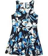 Hibiscus Print Flounce Dress (Big Kids)
