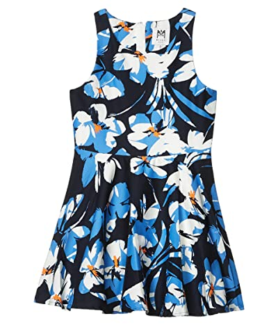 Milly Minis Hibiscus Print Flounce Dress (Big Kids) (Navy Multi) Girl