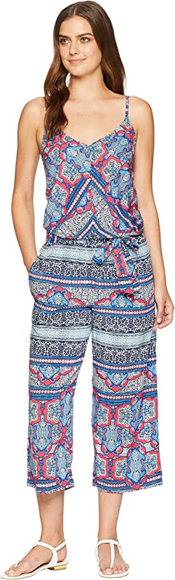 Riviera Tile Crop Jumpsuit Cover-Up