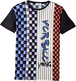 Versace Kids - Short Sleeve Race Track Graphic Logo T-Shirt (Big Kids)
