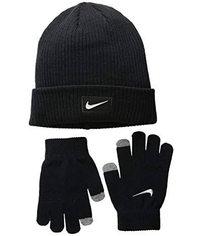 Nike Kids Chrome Swoosh Beanie Gloves Set (Big Kids) (Black/Metallic Silver) Beanies