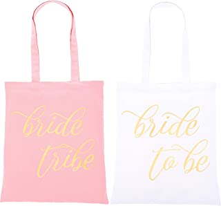 Bridal Party Bags - 5-Pack Canvas Tote Bags, 1 Bride to Be and 4 Bride Tribe in Gold Foil, 100% Cotton Tote for Women, Bridal Shower, Wedding Party Favors, Bridesmaid Gifts, White and Pink