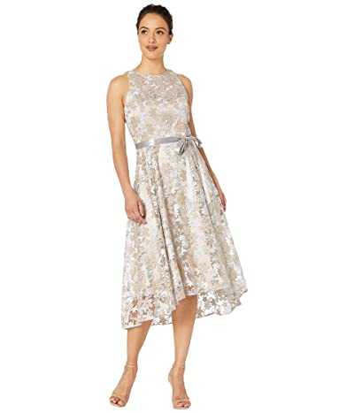 Tahari by ASL Petite Sleeveless Embroidered High-Low Hem Dress (Silver/Champagne) Women
