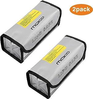 MoKo [2 件] LIPO 电池防爆防爆*袋防火*盒子防护储物袋用于保护 LIPO 电池和充电(185 x 75 x 60 毫米),银色