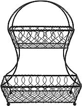 Gourmet Basics by Mikasa Loop and Lattice 2-Tier Flatback Metal Fruit Basket, Antique Black