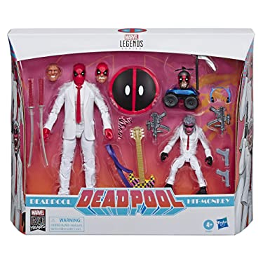 """Marvel Comics 80th Anniversary Legends Series 6""""-Scale Vintage Comic-Inspired Deadpool & Hit-Monkey Collectible Action Figure 2 Pack"""