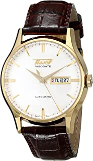 Tissot Men's T0194303603101 Visodate Yellow Gold-Tone Stainless Steel Brown Leather Watch