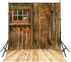 LYLYCTY 5x7ft Rustic Barn Door Wall Photography Background Yellow Wooden Floor Photo Backdrop Studio Props Wall LY002