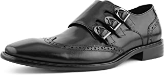 Asher Green Mens Genuine Two-Tone and Solid Leather Dress Shoes, Comfortable Triple Monk Strap Wingtip Oxfords