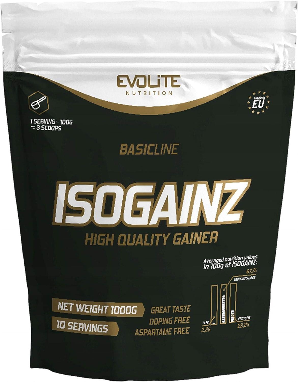 Evolite IsoGainz - Mass Gainer - 1 paquete x 1000 g - 3 tipos de proteínas de suero - Con la adición de maltodextrina (Hazelnut Cream, 1000g)