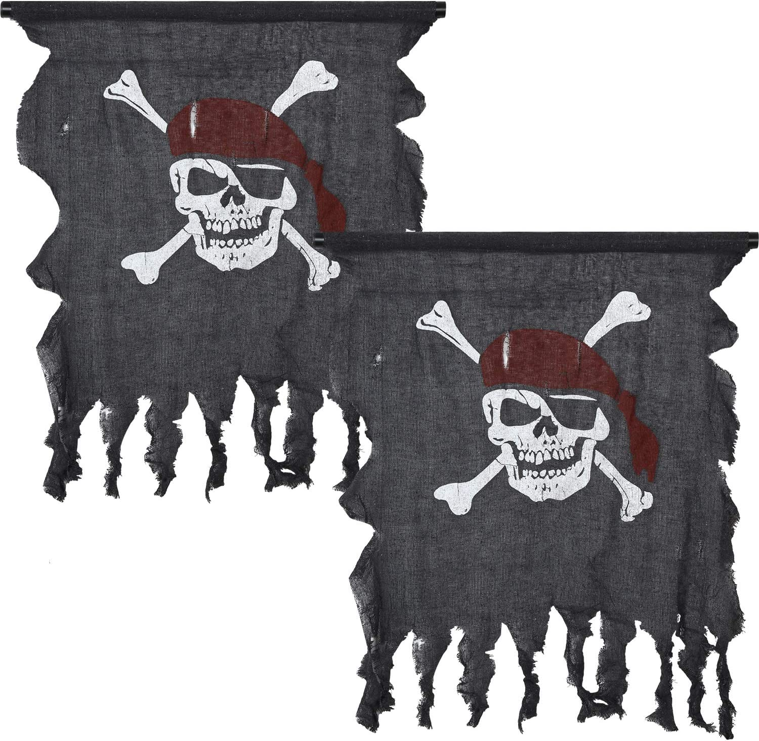 Tatuo 2 Pieces Large Size Pirate Flag Retro Weathered Linen Pirate Flag Vintage Pirate Flag for Halloween Decorations Pirate Party Supplies, 29.5 x 35.4 Inch