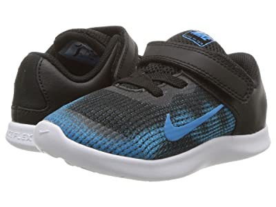 Nike Kids Flex RN 2018 (Infant/Toddler) (Black/Equator Blue/White) Boys Shoes