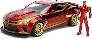 Marvel Iron Man & 2016 Chevy Camaro Die-cast Car, 1:24 Scale Vehicle &2.75 Collectible Metal Figurine