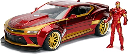 """Jada Toys Marvel 1:24 2016 Chevy Camaro SS Die-cast Car with 2.75"""" Iron Man Figure, Toys for Kids..."""