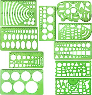 10 Pieces Green Plastic Drawings Templates Measuring Templates Geometric Rulers for School and Office Supplies