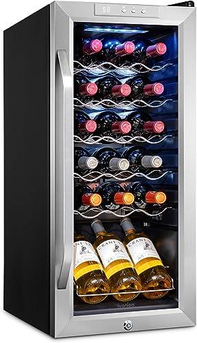 discount Ivation 18 Bottle Compressor Wine Cooler Refrigerator w/Lock   Large Freestanding Wine Cellar For Red, White, online sale Champagne or outlet sale Sparkling Wine   41f-64f Digital Temperature Control Fridge Stainless Steel online