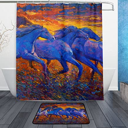 Mydaily Running Horse Oil Painting Shower Curtain 60 x 72 inch with Bath Mat Rug & Hooks, Mildew Resistant & Waterproof Polyester Decoration Bathroom Curtain Set