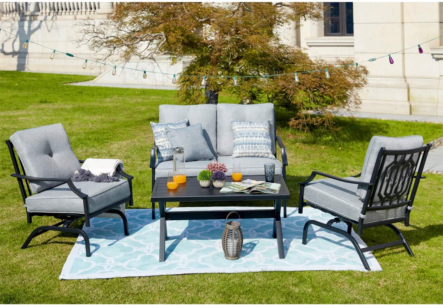 Patio Festival 4 Pices Furniture Conversation Ou In stock Set Max 71% OFF Metal
