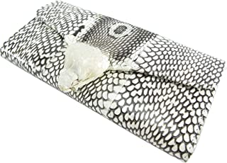 PELGIO Genuine Cobra Snake Skin with Head Leather Women's Trifold Clutch Wallet Purse Natural