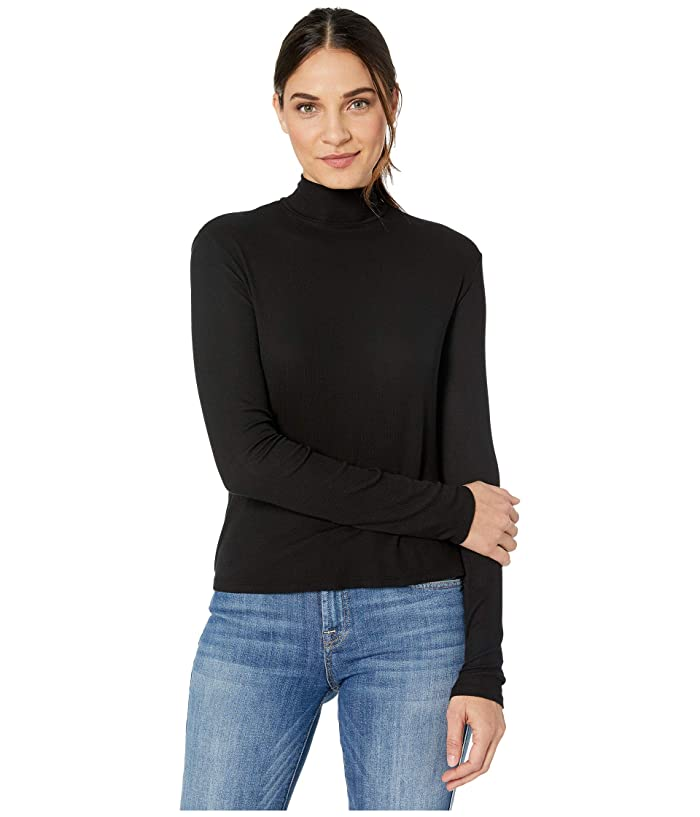 Splendid  2x1 Rib Eastsider Mock Neck Tee (Black) Womens Clothing