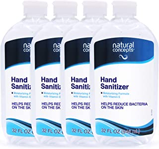 32-oz Bottle, 4-Pack (128oz Bulk Pack), Made in Canada, with Vitamin E, 65% Ethyl Alcohol, Hand Sanitizer Gel by Natural C...