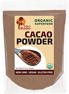 Cacao Powder Raw Organic Unsweetened Superfood by SOW+BLOOM – Sugar Free, Gluten Free, Non GMO – 1 lb (16 oz), Unsweetened Cocoa Powder | Keto Friendly