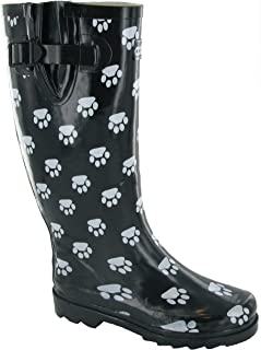 Cotswold Collection Dog Paw Welly/Womens Boots (Black)