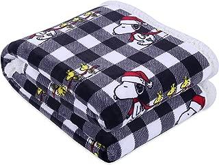 Berkshire Blanket Peanuts VelvetLoft Christmas Cozy Snoopy Reversible Plush Throw, Multi