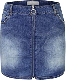 makeitmint Women's Front Zipper Detail Casual Denim Jean Mini Skirt w/Pockets