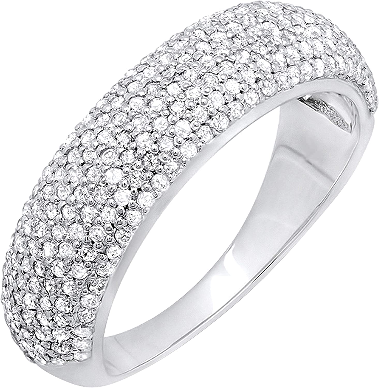 Dazzlingrock Collection 0.90 Carat (ctw) Round White Diamond Ladies Anniversary Wedding Band, 10K Gold