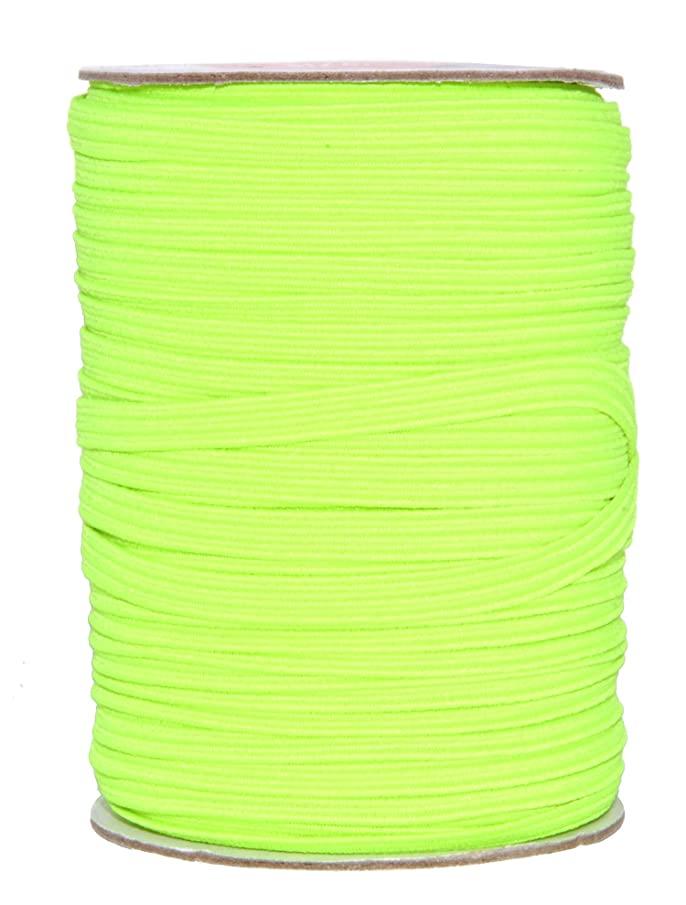 Mandala Crafts Colored Polyester Rubber Braided Flat Elastic Stretch Band Cord Spool Roll for Sewing Clothes Waistbands (1/4 inch 6mm 50 Yards, Lime Green)