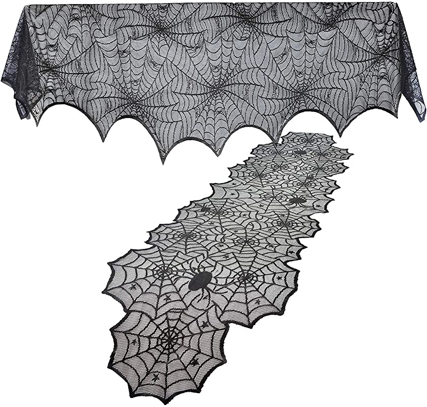 KoKoWill Halloween Decoration Kit Black Lace Spiderweb Fireplace Mantle Scarf Cover 18 X 96 Inches With Table Runner Topper Tablecloth 19 X 72inches For Halloween Party Decor