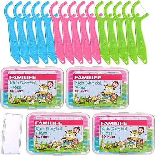 Dental Floss Picks, FAMILIFE Kids flossers Toddler Threaders Children Unwaxed Unflavored Fluoride Free Dental Floss C...