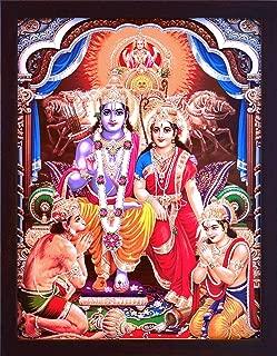 Hanuman Ram Darbar, A Hindu and Holy Religious Auspicious Gathering of Lord Ram, Sita and Laxman with Lord Hanuman, A Hindu Religious Poster Painting with Frame for Hindu Religious and Gift Purpose.