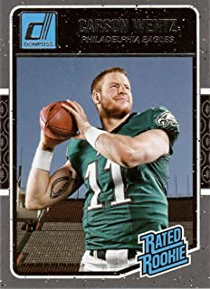 Carson Wentz 2016 Donruss Football Mint Rated Rookie Card #352 Picturing This Philadelphia Eagles Star in His Green Jersey