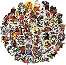 Old School Tattoo Vinyl Stickers 50 Pieces Various Car Motorcycle Bicycle Skateboard Laptop Luggage Vinyl Bumper Decals (Conservative)