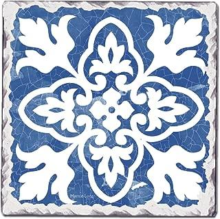 CounterArt Single Tumbled Tile Coaster, Indigo Pattern 1