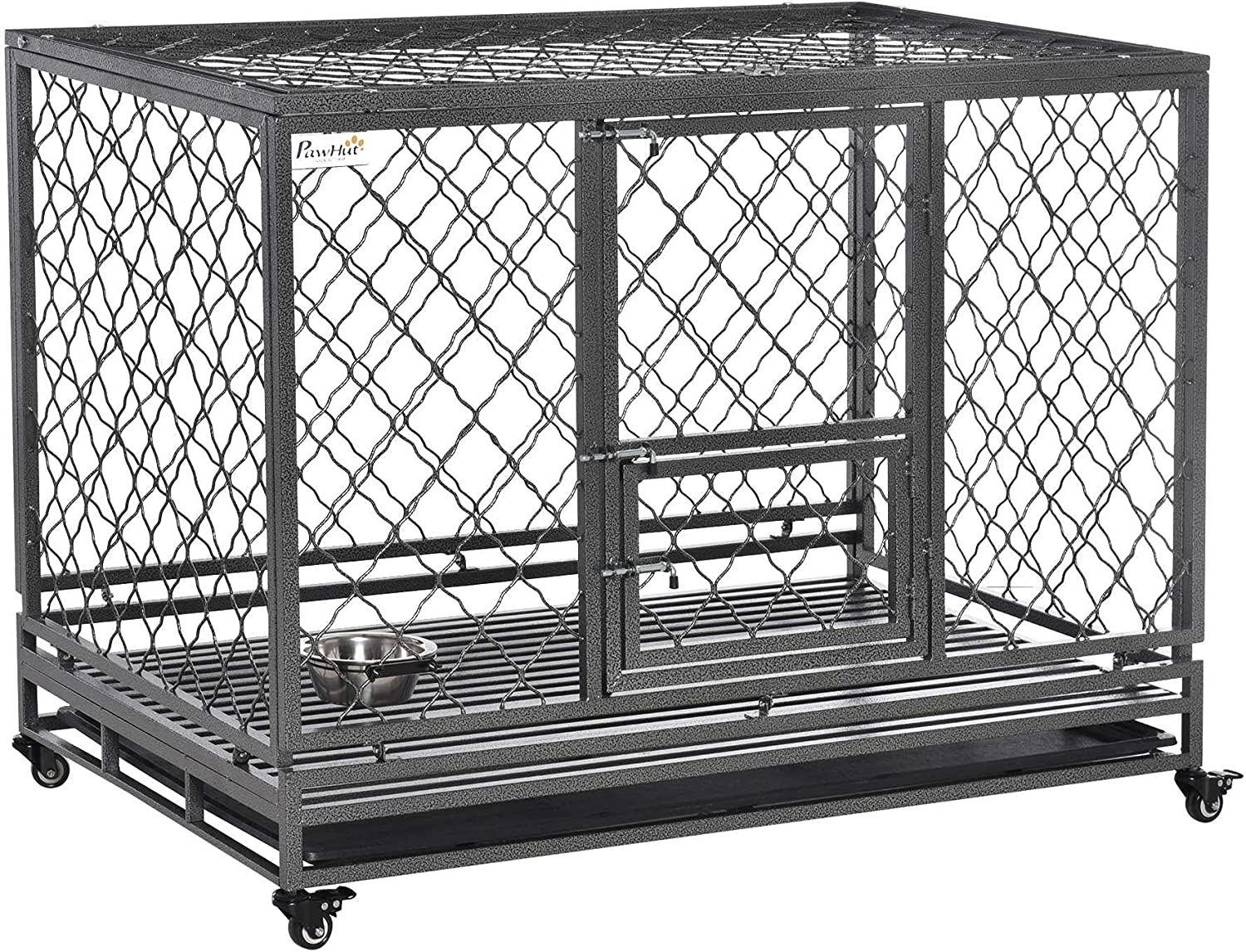 PawHut SALENEW very popular! Heavy Duty Dog Crate Cage w Tray Removable Kennel Wheels Wholesale