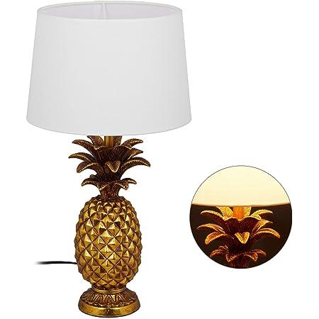 Relaxdays 10029511 Lampe de Table Ananas, Moderne avec Abat-Jour, Douille E27, décoration, avec câble, HxD 54 x 30 x 16 cm, dorée, polyrésine, Tissu, Plastique, Or, 1 élément