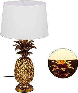 Relaxdays 10029511 Lampe de Table Ananas, Moderne avec Abat-Jour, Douille E27, décoration, avec câble, HxD 54 x 30 x 16 c...